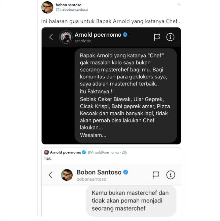 Makin Panas, Bobon Santoso Balas Menohok Kiriman Pesan Langsung Dari Chef Arnold