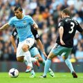 Aksi Sergio Aguero di Laga Manchester City vs West Ham United